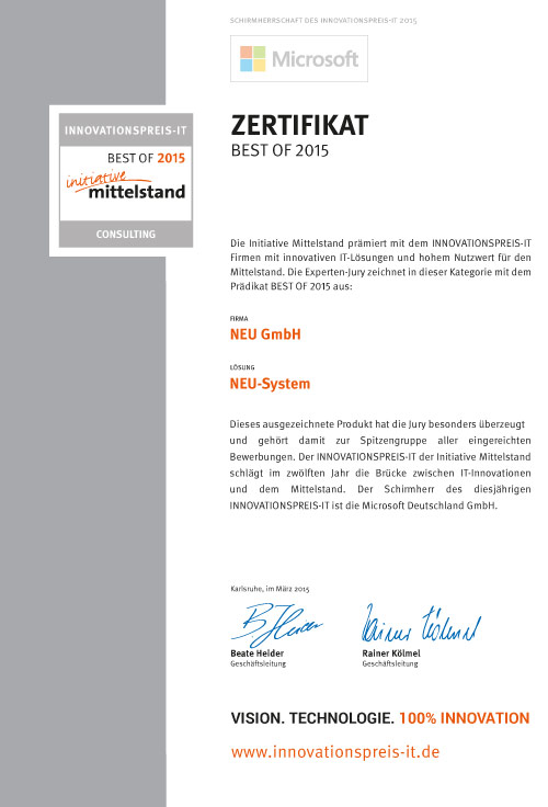 Best-Of Zertifikat als Auszeichnung des Innovationspreis-IT Mittelstand 2015