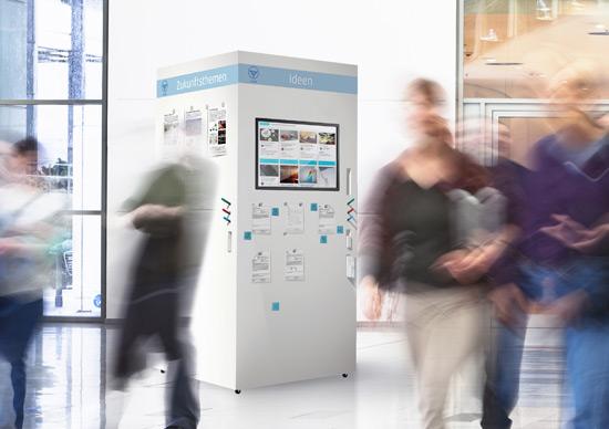 iCube mit Touchscreen für die Ideensammlung und Einbindung der Mitarbeiter in den Innovationsprozess