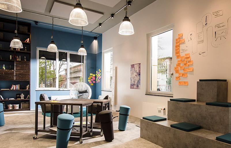Kreativraum Creative Space regio iT Geistesblitz Düren vorher-nachher Ideenkultur Innovation Space nachher
