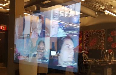 Digitale Kommunikation Videochat WebEx Skype Teamwork persönliches Gespräch Ideenkultur
