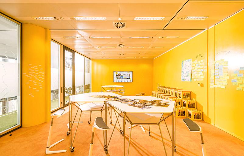Kreativraum neue Arbeitswelt New Work Creative Space vorher-nachher Ideenkultur Innovation Space ARAG nachher