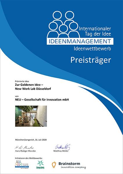 Wettbewerb Urkunde Internationaler Tag der Idee 2020 Preisträger NEU - Gesellschaft für Innovation New Work Lab Zur Goldenen Idee