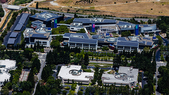 Googleplex von oben Mountain View Alphabet Zentrale Google Campus New Work moderne Arbeitswelt Ideenkultur Innovationkultur
